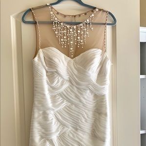Cache White Bejeweled Prom Dress Size 10